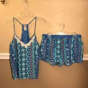 In Bloom tribal print short pajama set